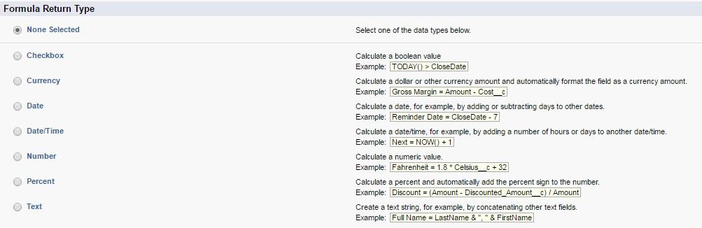 formula types